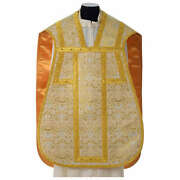 Roman Chasuble In Golden Brocade Fabric And Satin Lining Gold