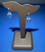 Sterling Silver And 18kt 1.8ct Cushion Cut Blue Topaz Earings