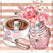 Metal Light Switch Cover Wall Plate For Kitchen Coffee Cupcake Flower Cof126
