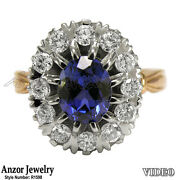 14k Rose And White Gold 2.1 Cwt Sapphire 1.10 Cwt G-vs2 Diamond Russian Style Ring