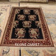 Yilong 4and039x6and039 Rose Handwoven Silk Carpet Antistatic Home Indoor Area Rug 063m