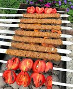 Shish Kebob Flat Skewers For Bbq Flat Wooden Handle Barbeque Grill Stick Scewer