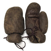 Vintage Antique Ag Spalding And Bros Brown Leather Boxing Gloves Display Decor