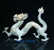 Old Collectible Antiques Gild Bronze Handmade Carved Dragon Statue