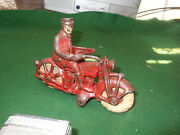 Vintage Hubley Cast Iron Red Patrol Motorcycle W/ Driver 6.5