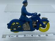 Vintage Auburn Rubber Police Motorcycle W/ Policeman Rider- Blue/silver