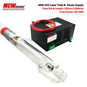 Mcwlaser 60w Co2 Laser Tube 1.2m + Power Supply + Goggles Engraver Cutter 110v