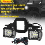 Tow Hitch Mounting Bracket W/ 4 Tri-row Led Work Light Combo Pods +wiring Kit