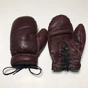 Vintage Antique Childrens Youth Red Leather Boxing Gloves Display Decor 1 Pair