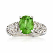 Vintage Sphene And Diamond Ring In Platinum Size 5