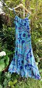 Lovely Per Una Blue Turquoise Green Olive Paisley Strappy Dress Size 10r 57long