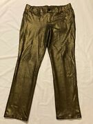 Lane Bryant Shimmery Pull-on Stretchy Creased Gold Pants Women's Size 18