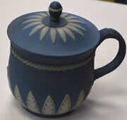 Vintage Wedgwood Jasperware Solid Blue Custard Cup With Cover Rare 18th Century