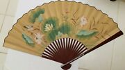 Lg Oriental Hand Painted Fan Hummingbird Water Lily Dragonfly Wood 50x29 Vtg