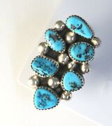 Native American Sterling Silver Navajo Kingman Turquoise Ring. Signed Size 7and3/4