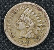 1859 Indian Head Cent Penny Full Liberty Vf
