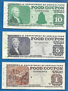 Food Stamp Coupon Gem Unc Three Coupons 10. 5. 1. With Book End Tab Usda