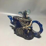 8.4and039and039 China Antique Animal Teapot Natural Blue Amber Animal Teapot Kettle Cxn