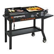 Charcoal Grill Griddle Combo Stainless Steel Burner Portable With Wheels