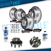 For 06-08 Dodge Ram 3500 Front And Rear Drilled Rotor Brake Pad 2 Hub Bearing 4x4.