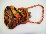 Awesome Vintage Bakelite And Hand Stitched Fabric Purse