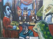 Court Room Trial Satirical/expressionist Oil Painting-1960s-i. Louis Winarsky