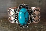 Navajo Indian Jewelry Copper Turquoise Bracelet By Jackie Cleveland