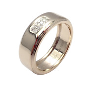 And Co 18k White Gold 2004 Diamond 8mm Band Ring Sz 10.5