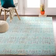 10x14 Turquoise Modern Handknotted Rug Anatolian Design 7378 300x425 Cms.