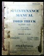 Wwii Us Army - Maintenance Guide Tm-10-1139 - Ford 1-1/2 Ton 4x2 Truck 3368