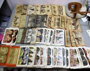 Antique 92 Stereoscope Cards And 1915 Wood Stereo Viewer Stereoscopic Pan American
