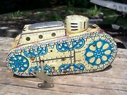 Antique 1930's Marx Windup Tin Army Tank - Working Condition W/ Key