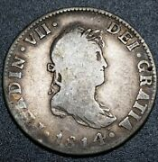 Scarce World 1814 Jj 2 Reale Mexico Milled Bust U.s. Early Colony Error Coin