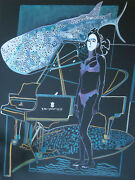 Mermaid And Whale With Piano In Ocean Oil Painting On Canvas. 48 X 36