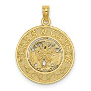 14k Yellow Gold Turks And Caicos Words With San Dollar In Round Charm Pendant