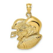 14k Yellow Gold Open-back Double Football Helmets And Ball Charm Pendant