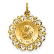 14k Yellow Gold Saint Theresa Pray For Us Pendant With Decorative Border 18mm