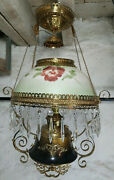 1890and039s Bradley And Hubbard Jeweled Frame Dark Bronze Hanging Lamp With Shade
