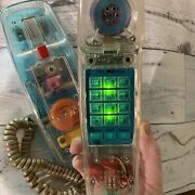 Vintage 1990s 1980s Bellsouth Clear See Through Clear Phone Neon Works Free Ship