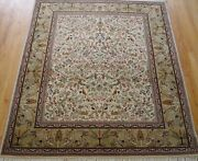 Antique Floral Pictorial Tabrizz Birds Oriental Rug Hand Made Wool 5and039 X 6and0394
