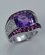 Amethyst Diamond And Pink Sapphire Ring 18kt White Gold 4.98cttw Model 268-r61