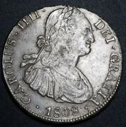 Double Punch A And 8 Bolivia 1808 Pj Silver 8 Reale World Error Colony Coin Au