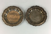 Vintage 1945 William Bush And Sons Pair Of Solid Silver Dishes / Ashtrays 9.2cm