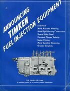 1937 8 Page Brochure Ad Of Timken Fuel Injection Equipment Fuel Pump And Parts
