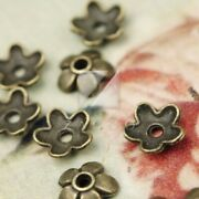 300pcs Antique Brass End Beads Caps Jewelry Findings Flower 6.5mm Free Shipping