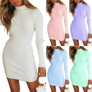 Womens High Neck Knitted Slim Bodycon Sweater Mini Dresses Stretchy Jumper Dress