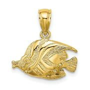 Polished Engraved Fish Charm In Real 14k Yellow Gold 11 Mm X 18 Mm 1.97gr