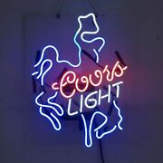 Real Glass Display Neon Signs Coors Light Cowboy  19x15-005
