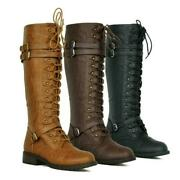 Women Knee High Lace Up Buckle Military Combat Boots Pu Leather Riding Shoes New