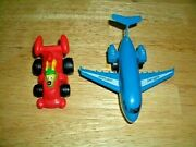 Dime Store Plastic Toys - Airplane And Race Car - Vintage - Excellent Cond.-used